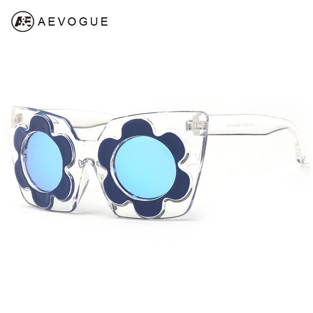 Aevogue женские солнцезащитные очки круглый цветочная рамка лето стиль марка солнцезащитные очки зеркало объектива старинные Gafas óculos De Sol AE0335