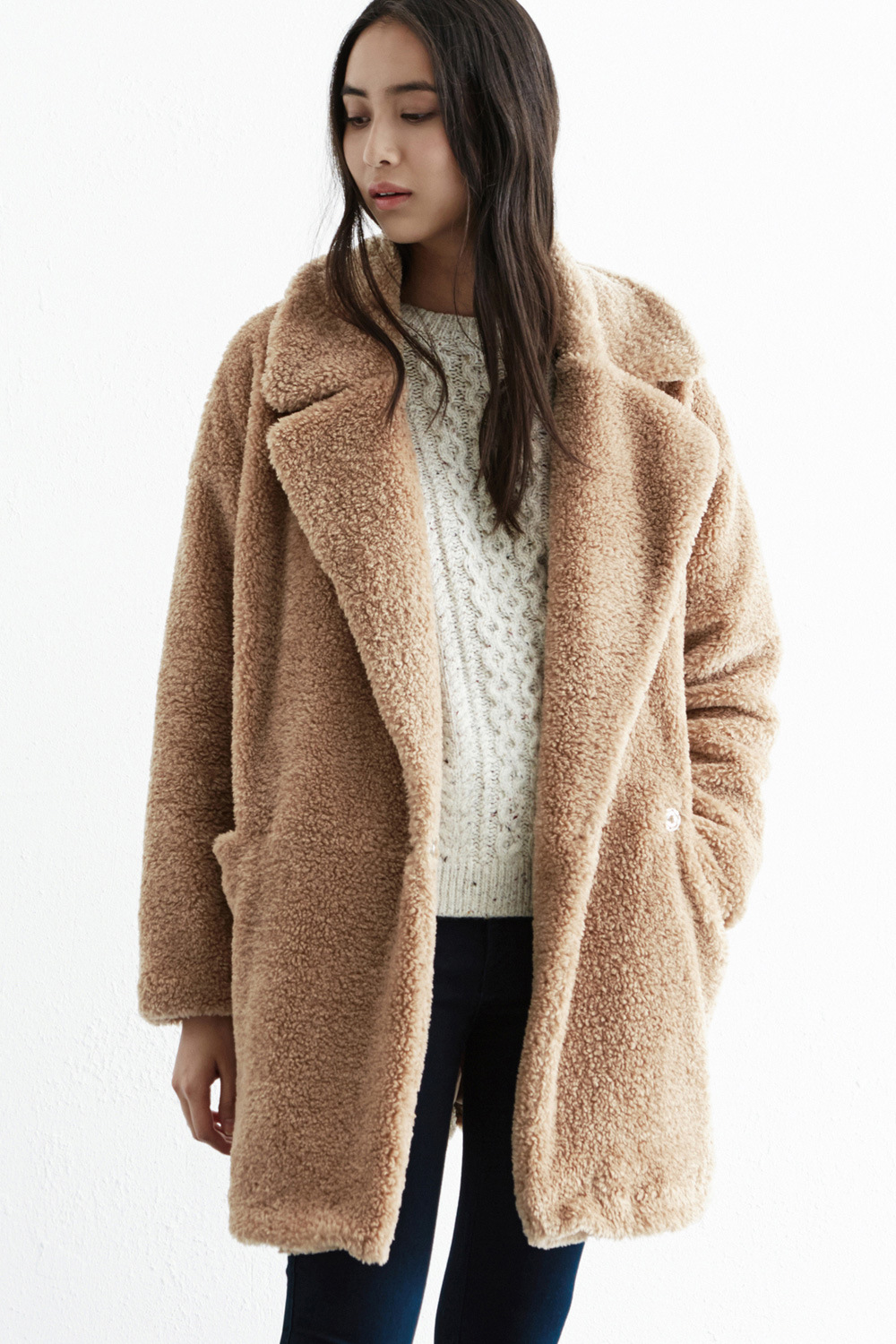 2015 new fashion autumn/winter women's casual street camel Long warm faux fur coat jacket lady Plus Size 14-16