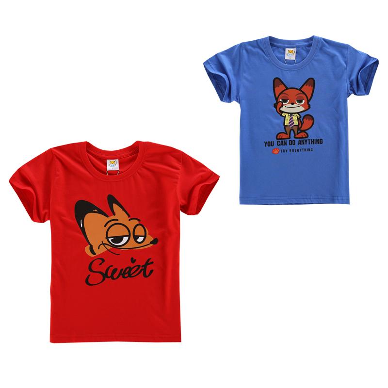 2016 kids tops boys clothes Zootopia Nick t shirt boy clothing children t shirts roupas infantis meninomoda infantil 3-13years(China (Mainland))