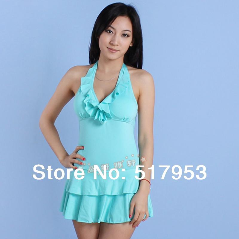 bathing suit new 2014 Pure bag halter-neck one-piece swimsuit skirt women's swimwear apple