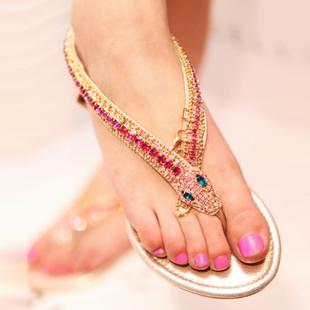 2016 women fashion brand new best flip flops sandals handmade luxury rhinestone snake flat heel crystal female sandal - Promotion Fashion Store store