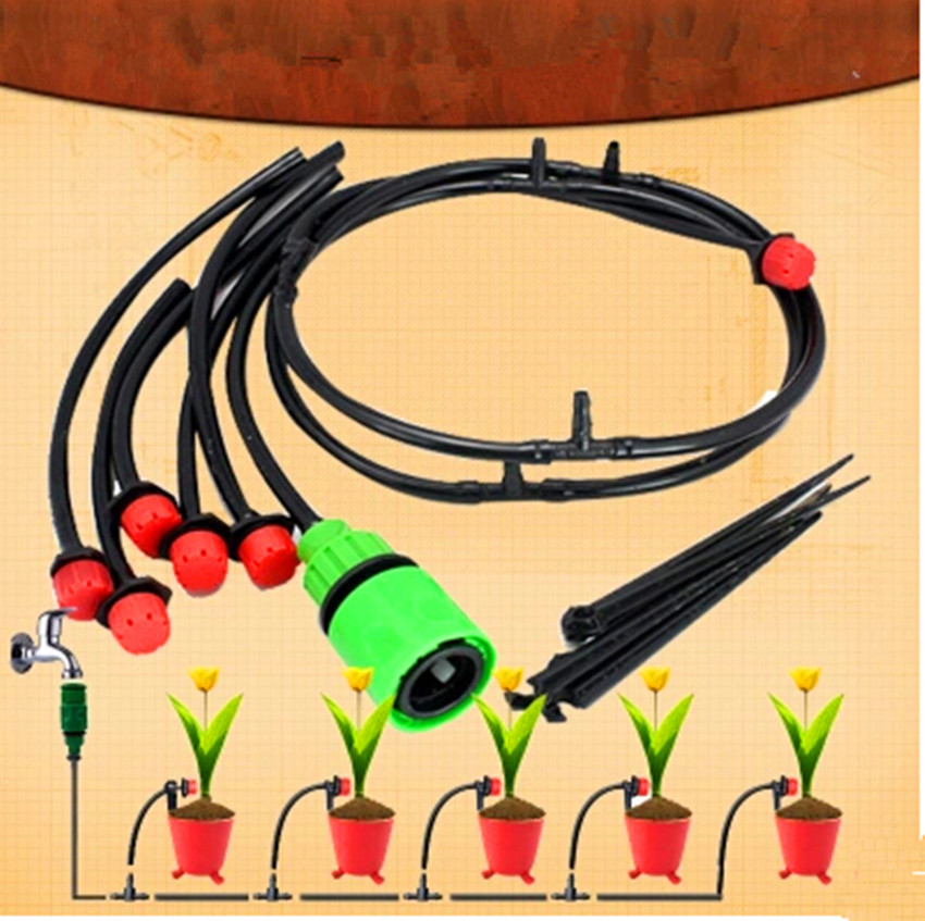 15m Tubing 15pcs Red Adjustable Dripper Watering Kits Home Garden Plant Irrigation Drip Irrigation SY12004(China (Mainland))
