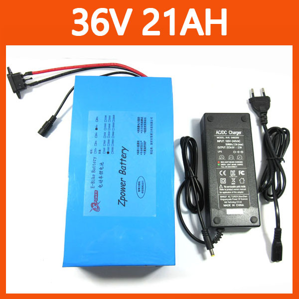 Free shipping 1000w 36V 21AH Electric bike lithium Battery with PVC case (For Samsung cells 3000MAH ) 30A BMS,42V 2A charger(China (Mainland))