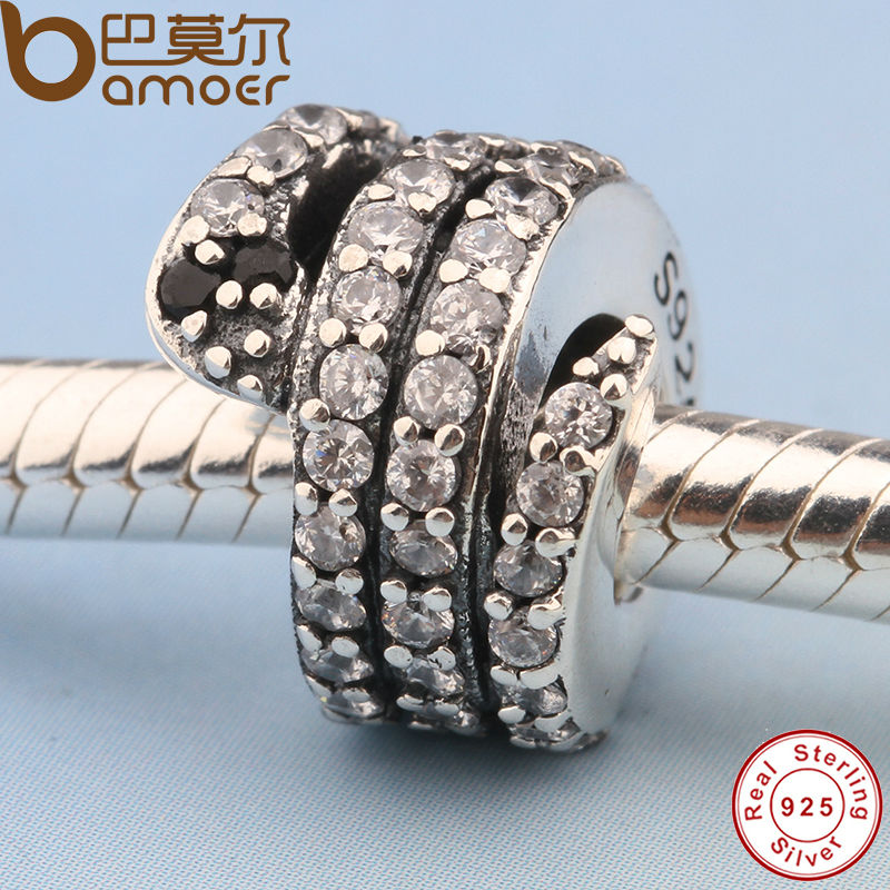 Free Shipping Gift Sparkling Snake Clear CZ & Black Crystal Charms Fit Original Pandora Bracelet Necklace DIY Jewelry PS115(China (Mainland))