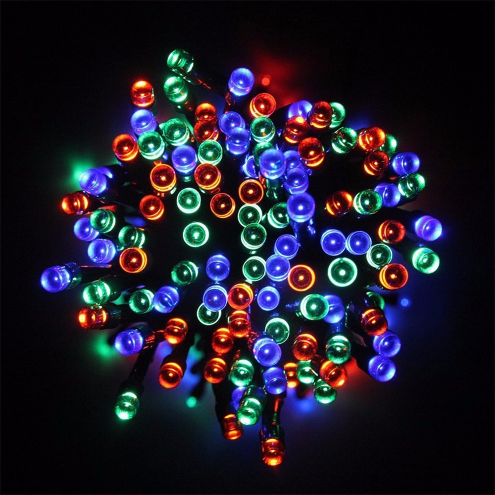 solar holiday lights 12m 100led waterproof multicolor string fairy xmas garden light outdoor. Black Bedroom Furniture Sets. Home Design Ideas