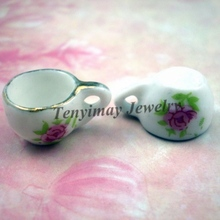 Buy Free 50pcs chinese style teacup ceramic charms jewelry, 16x11x9mm ceramic pendants flower printed for $14.85 in AliExpress store