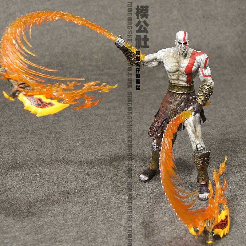 Brand New God Of War 2 Action Figure Toys Kratos With Flaming Blades 7'' PVC Game Action Figure Toy For Children New In Box(China (Mainland))