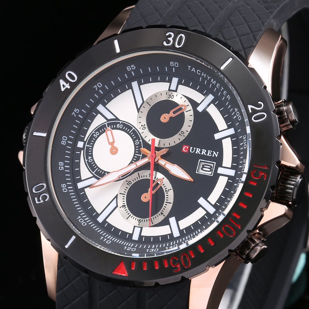 CURREN 8143  Luxury Men Sports Watches Silicone Watchband With Calendar Mens 5cm Big Face Quartz Dial Military Army Wristwatche<br><br>Aliexpress