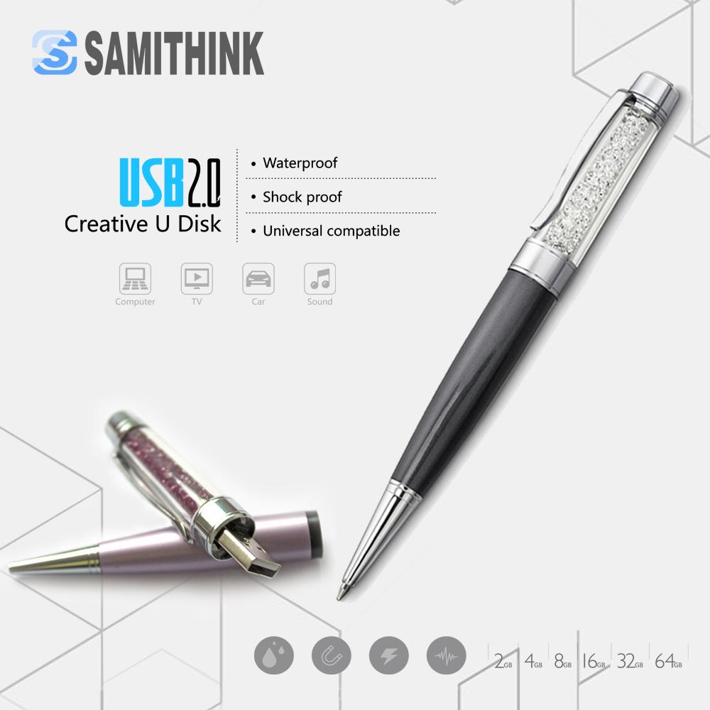 High-grade Crystal Pen USB Flash Drive Gift Pen Drive High Speed USB 2.0 Flash Memory Stick 64GB 32GB 16GB 8GB(China (Mainland))