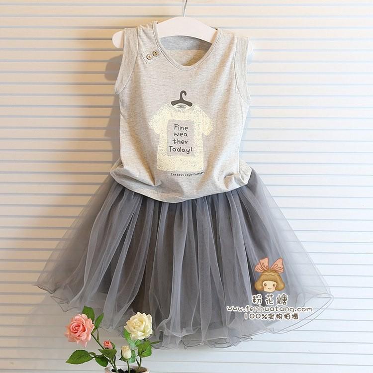 Baby girl cloТонкийg sets summer shirt +Кружево skirt Детский kids clothes Серый ...