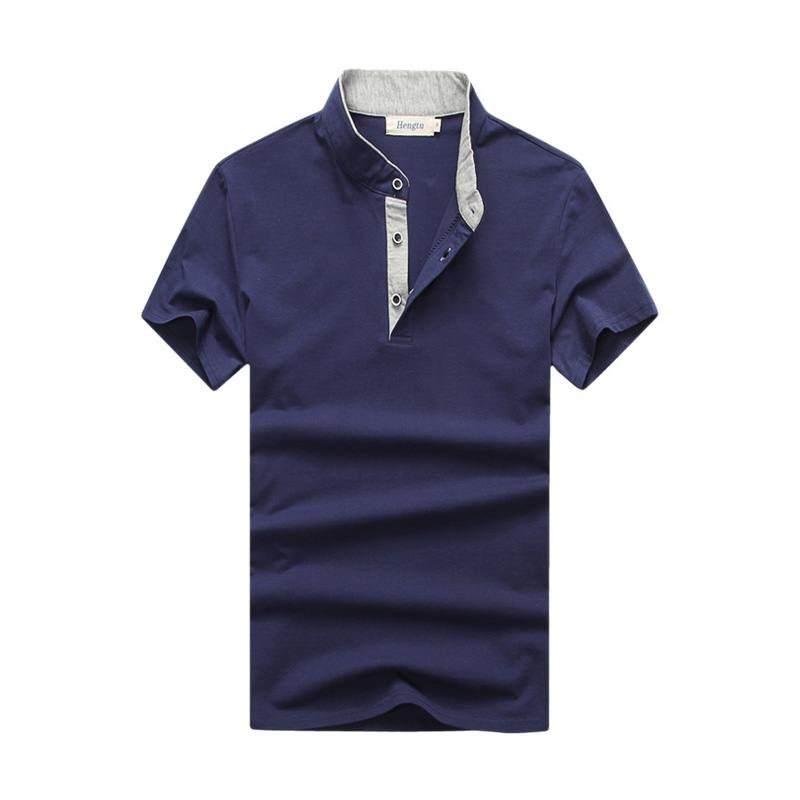 New arrivals solid buttons men polo shirts stand collar for Mens pullover shirts short sleeve