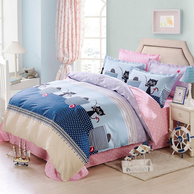 100% cotton twill pink/blue princess bedding set,Warm cabin/Vanessa/Ba Bao Lige queen flat sheet/duvet cover/Pillow Shams 4pcs(China (Mainland))