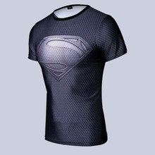Free shipping 2015 new men steel beast compression shirt superman/batman/gym/run/train t shirt fit tight shirts sports t-shirt