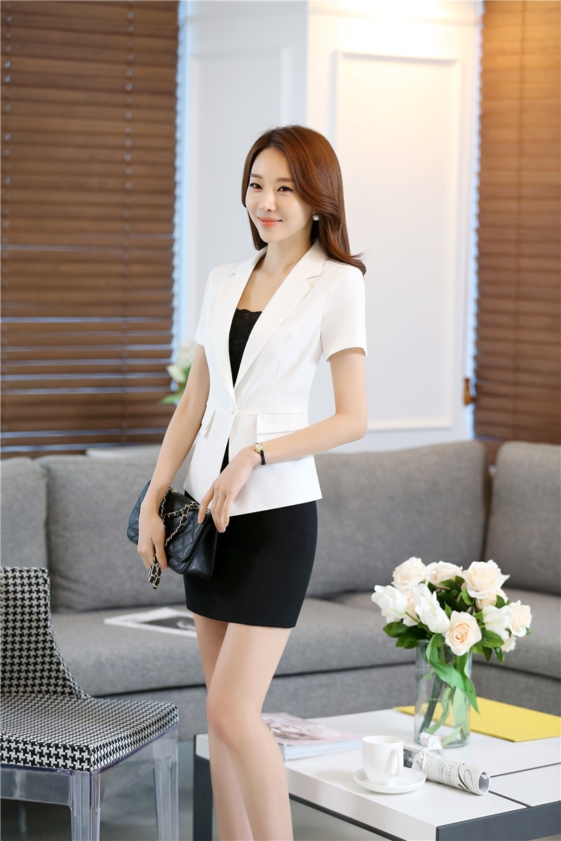 Summer Short Sleeve Professional Business Women Work Suits With Jackets And Skirt Formal Uniform Style Blazers Outfits