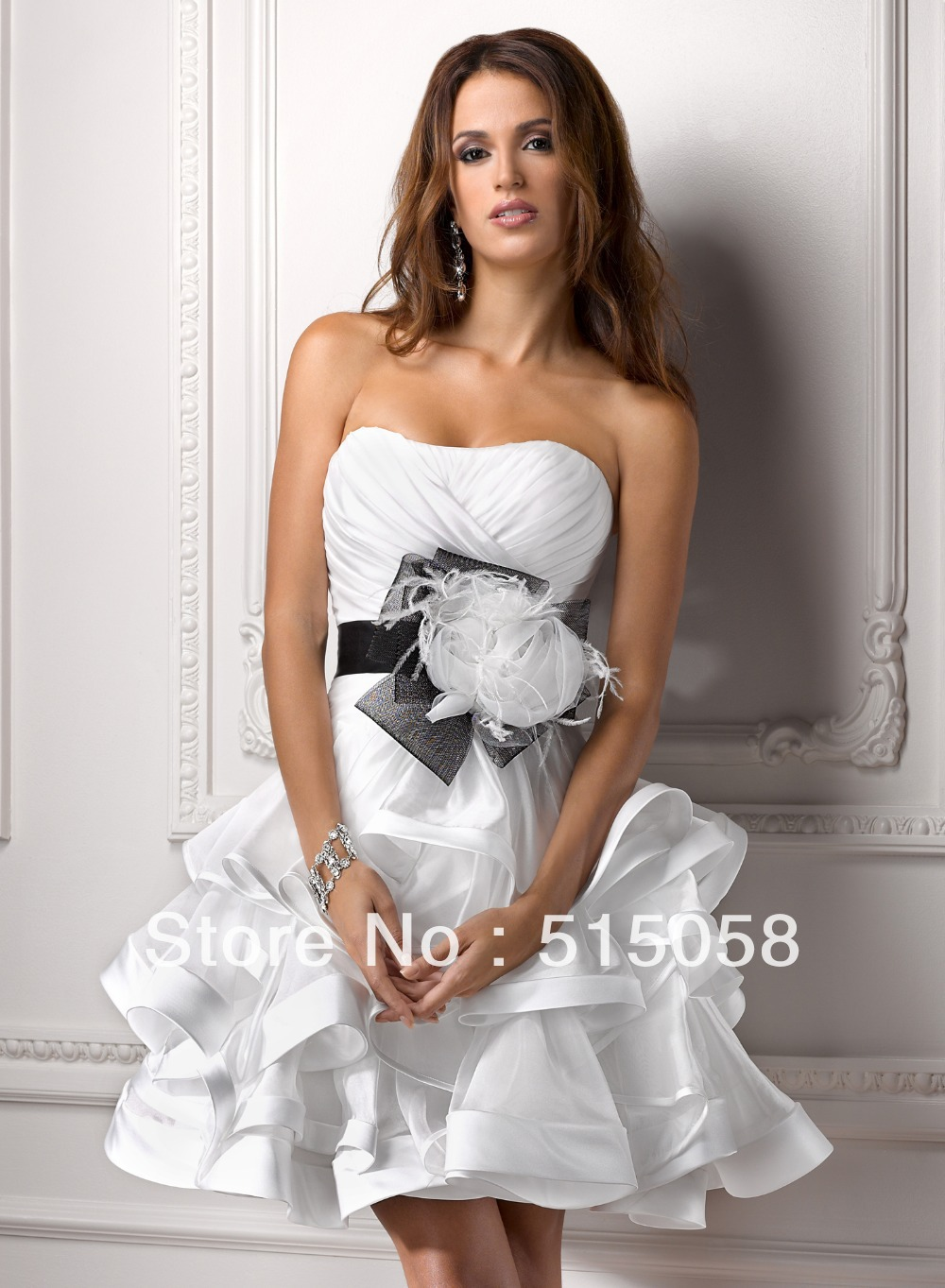New arrival 2015 sexy sweetheart black sashes white for Bride dress after wedding