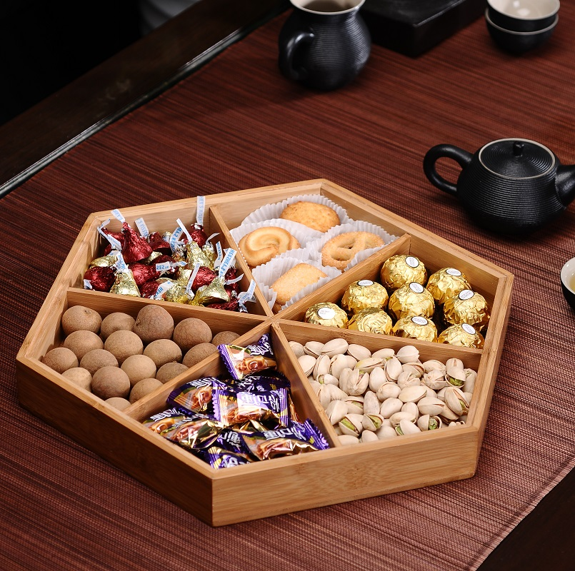 Fashion dried fruit box with cover bamboo nuts snack bowl dish plates candy storage tray(China (Mainland))