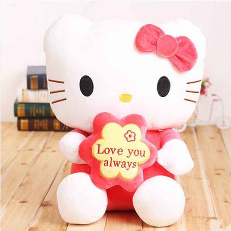 new cute plush hello kitty toy creative red flower kitty cat doll gift about 35cm(China (Mainland))