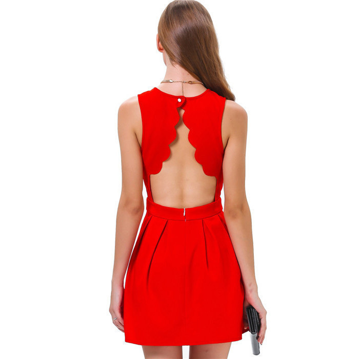 Elegant Sexy Sleeveless Fashion Dress Open Back Hollow Out Dresses Novelty Latest Designs Pleated Dress Mini Casual Club Wear(China (Mainland))