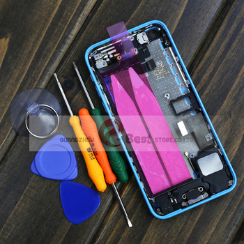 For iPhone 5c Complete Housing Back Battery Door Cover + Mid Frame Assembly Free Sticker 5 colors Free Shipping With Free Tools