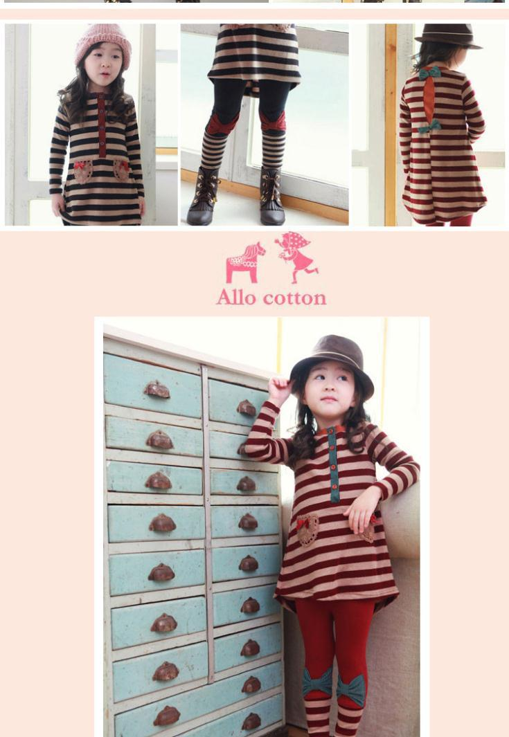Spring / Autumn Baby Girl Clothing Set Lace Striped Children Cloth Suit Long Sleeve Bow Kids 2PCS Top T Shirt + Pants