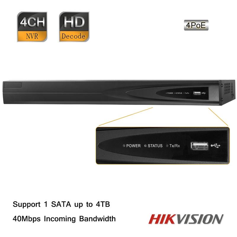 Hikvision 4 Channel 1080P 40Mbps Gigabit 6MP 4PoE Plug &amp; Play Embedded NVR 1 SATA<br><br>Aliexpress