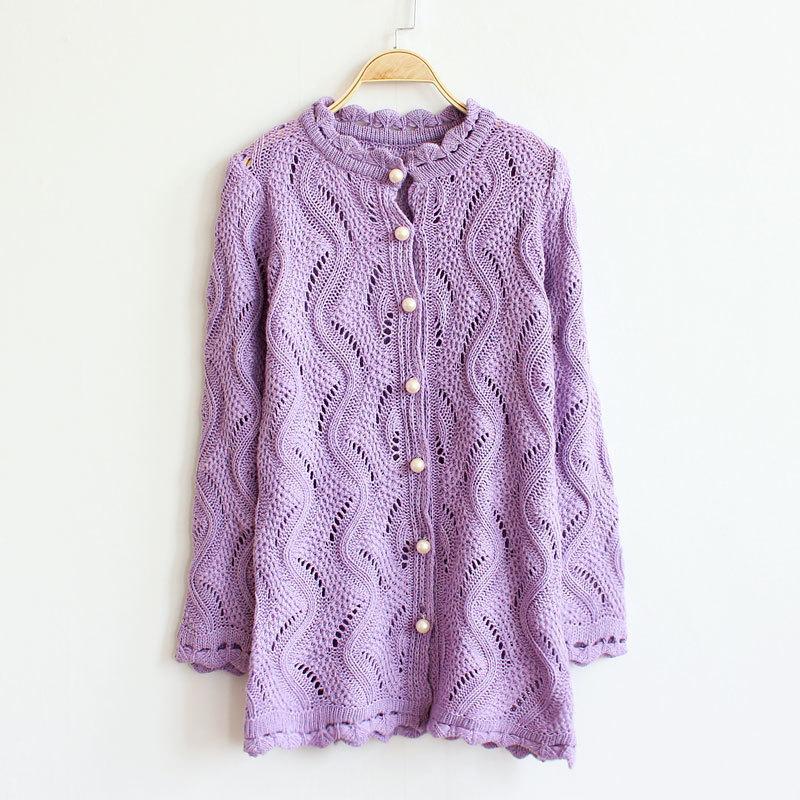 2014 new women cardigan slim v-neck winter sweater women Pearl button hollow long knitted Sweater coat women my001(China (Mainland))