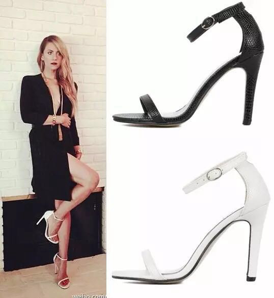 Free shipping star brand name Fashion serpentine leather sexy open toe sandals female high heeled shoes womens black white color(China (Mainland))