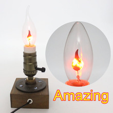 New Incandescent Vintage Bulb E14 3W AC 220-240V Retro Edison Bulb Art Decoration Pull Tail Candle Flame Bubble For Decoration(China (Mainland))