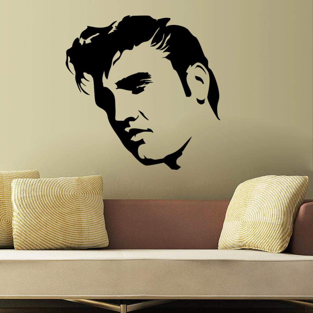 Elvis presley parete grande camera da letto murale art sticker stencil ...