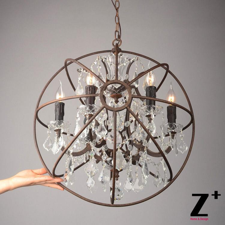 style vintage lustre light foucaults orb clear crystal chandelier