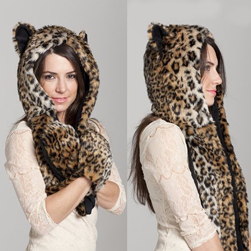Women Winter Hat Multi-function Animal Artificial Fur Warm Soft Cap Scarf