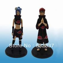 Japanese Anime Cartoon Naruto Pein/Konan 2 pcs/set PVC action figure For Christmas gifts Free Shipping