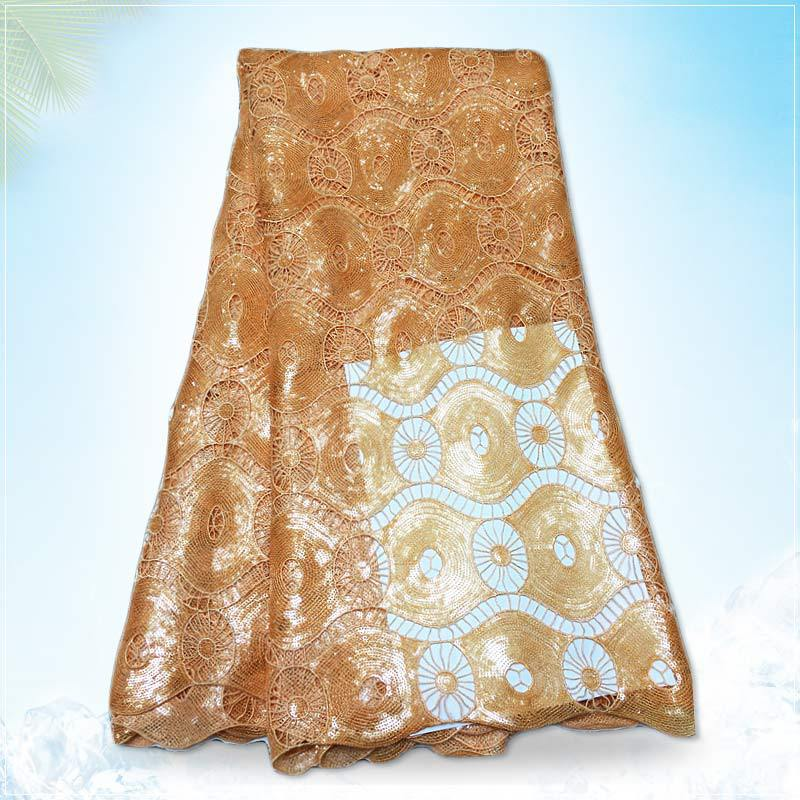 cord lace for nigeria asoebi dress gold color african crochet guipure lace g150615(China (Mainland))