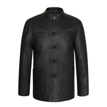 Chinese Vintage Style Mens Black Ethnic Tang Suit Soft Leather Jackets With Stand  Mandarin Collar Fur Overcoats For Man Coats(China (Mainland))