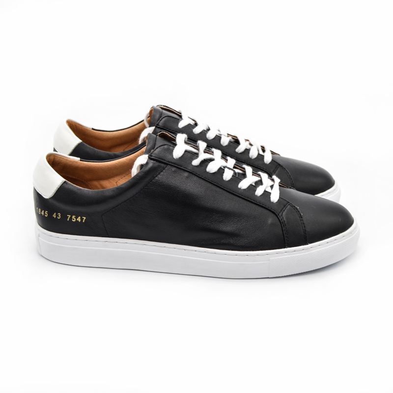 Фотография 2016 Italy Original Common Projects Women Men Casual Shoes Spring Autumn Classic Black Genuine Leather Sheepskin Shoes Calzado