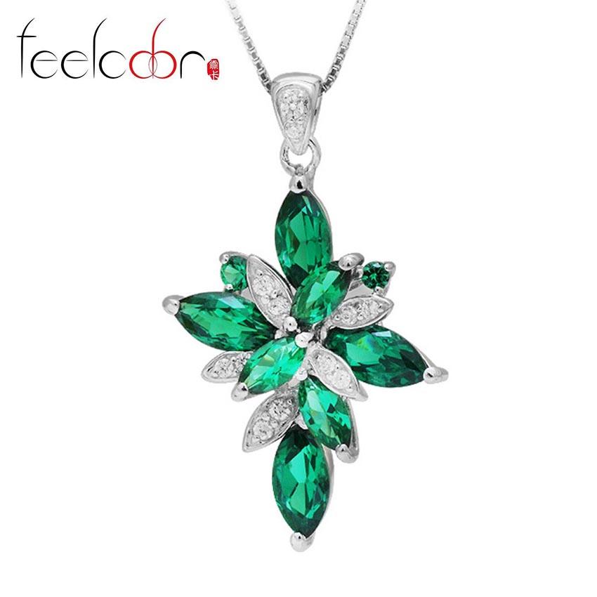 Nano Russian 2.44ct Gem Emerald Necklace Pendant Set Pure 925 Sterling Silver Fashionable Accessories<br><br>Aliexpress