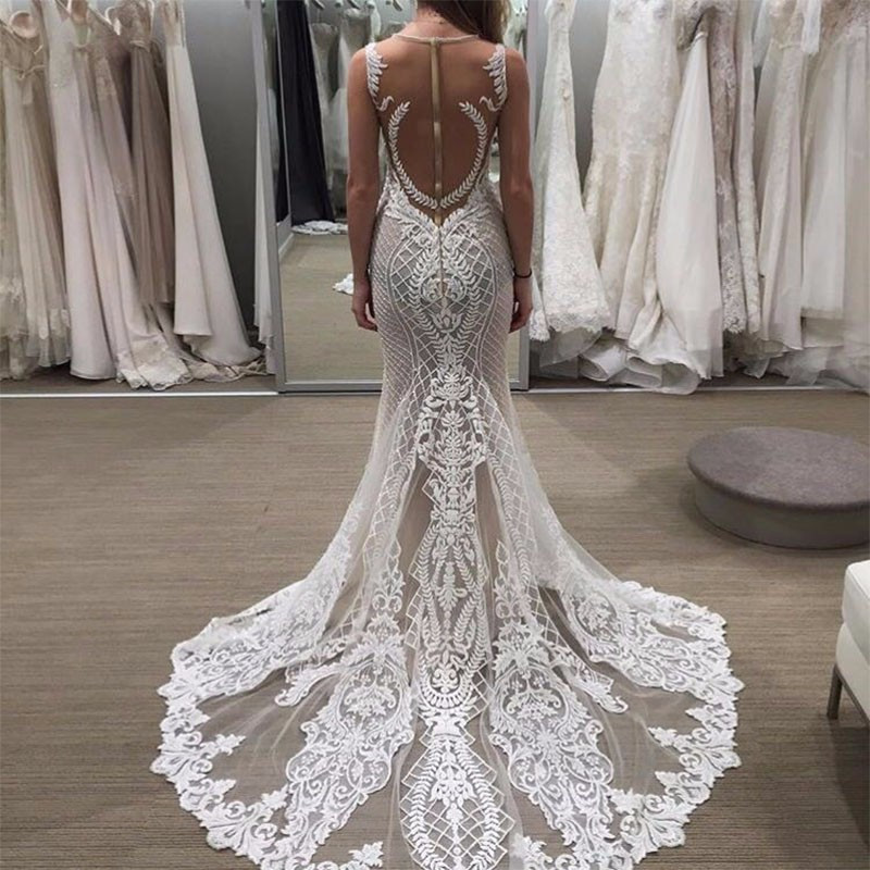Buy new arrival sexy lace mermaid for Backless beach wedding dresses
