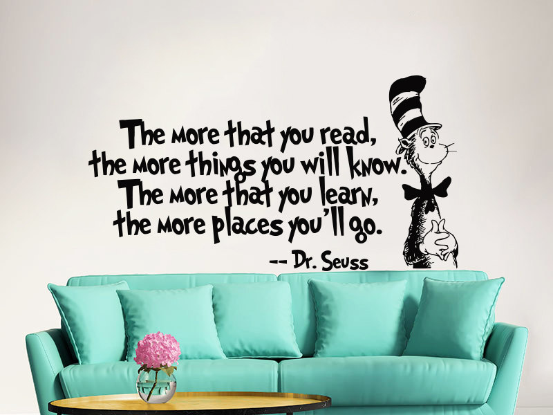 popular dr seuss reading quotes buy cheap dr seuss reading dr seuss 3 piece handpainted wall mural cat in the hat