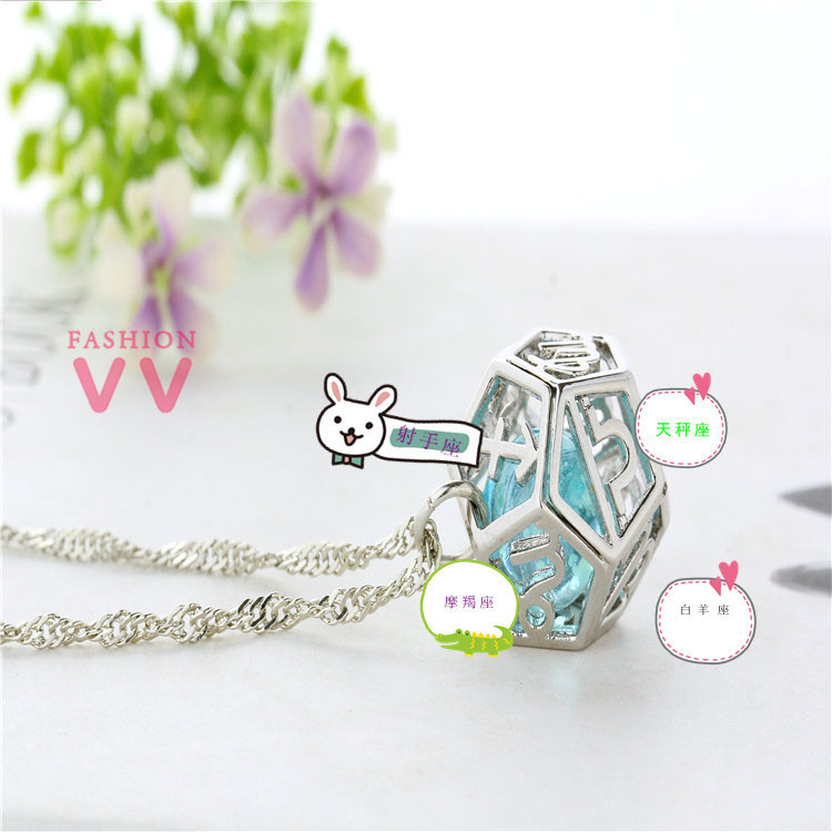 V0457 Creative luminous Zodiac Astrology  necklace, Handmade glow in dark necklace unique Gift Jewelry for her(China (Mainland))
