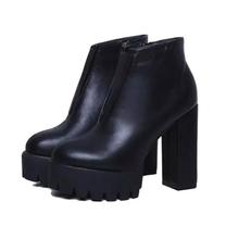 Fashion Black Women Ankle Boots 2015 Autumn Faux Leather Women Boots Shoes Platform Fashion Sexy Ladies Women Shoes Wholesales