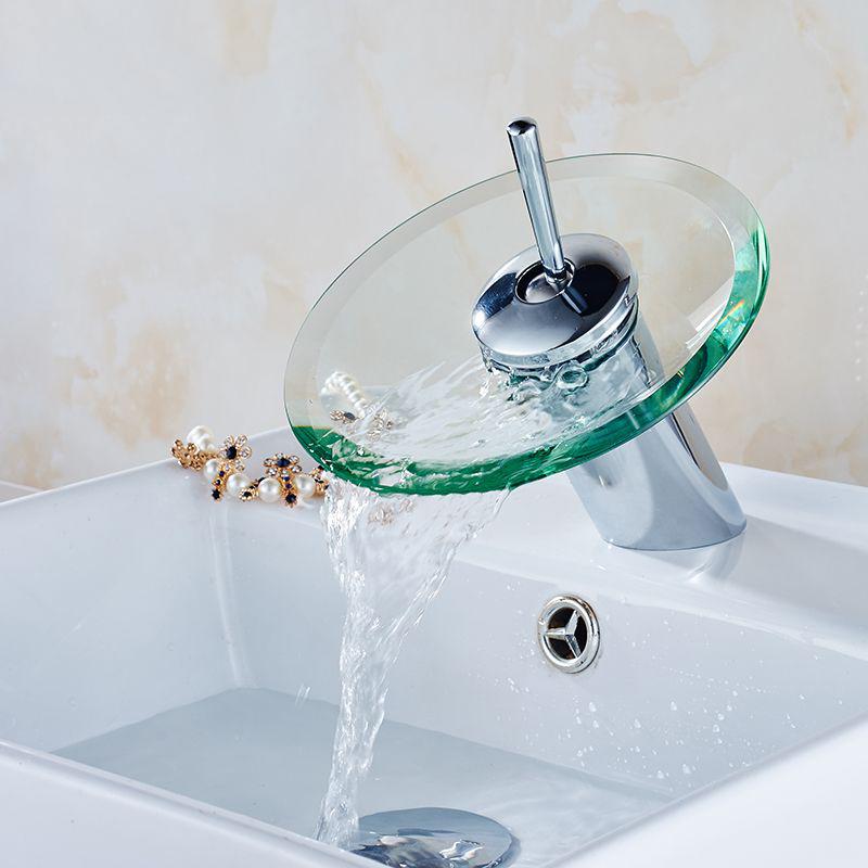 JOOE Glass Waterfall Faucet Bathrtoom faucet hot cold mixer basin tap Chrome water tap torneira banheiro salle de bain