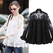 LB2073 9553# women 2016 new spring exquisite embroidery mosaic petal sleeve lace shirt female(China (Mainland))