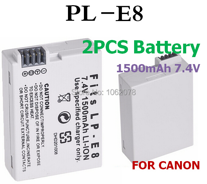 2 PCS/LOT 1500mAH Battery For canon LP-E8 EOS 550D 600D 650D 700D LPE8 Digital camera Rechargeable batteries charger battery(China (Mainland))