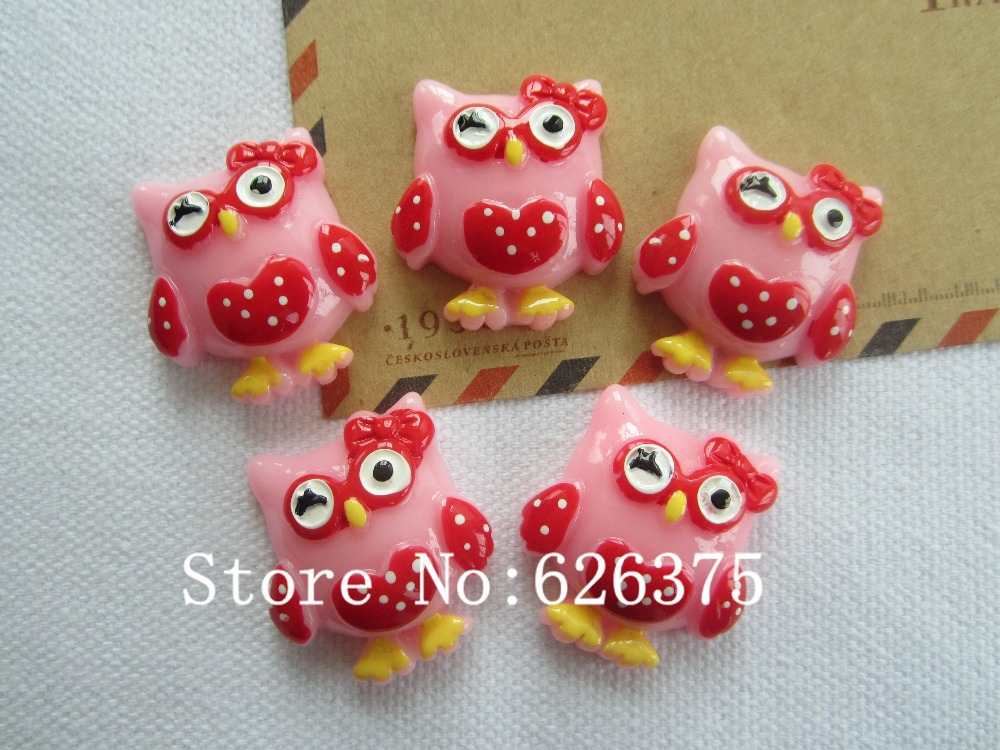 Rena!! Min.order $6 (mix order), Resin Newest Pink Owl for Hair Bow Center Scrapbooking Phone Deco DIY (24*28mm), Free Shipping(China (Mainland))
