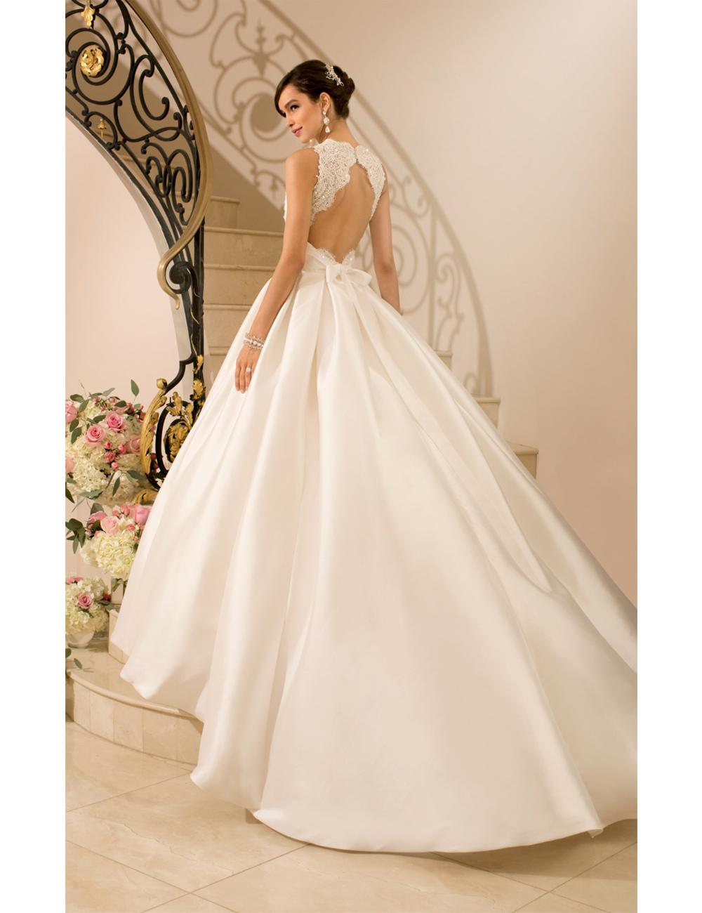 2016 dramatic keyhole lace back wedding dress romantic for Wedding dresses with dramatic backs