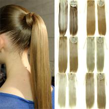 Long Straight Synthetic Ponytail Tress Apply Hair Clips in Pony Tails Hairpiece Ribbon Ponytails Hair Extensions Fake Hair Piece