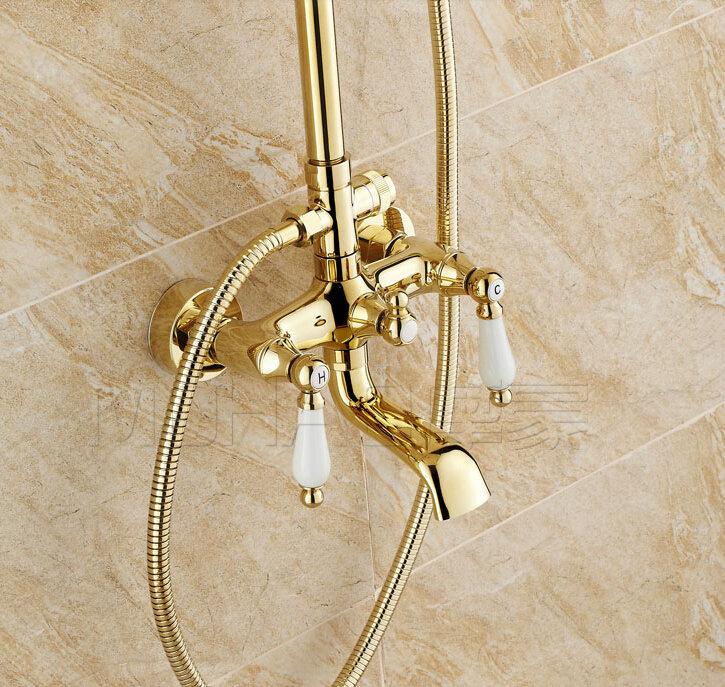 Torneira banheiro ouro velho : Torneira de ouro finish exposed chuvas do