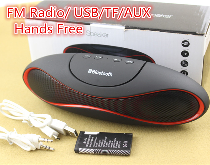 FM Radio USB/TF/AUX Rugby Loud Speakers Portable Multimedia Wireless Bluetooth Speaker with Mic Headsfree Amplifier Bass Speaker(China (Mainland))
