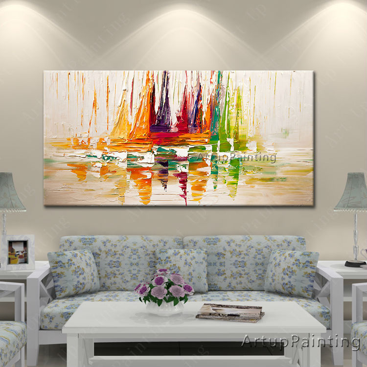 Hand painted canvas oil paintings abstract oil painting huge modern abstract oil painting boat ship sailing 3(China (Mainland))