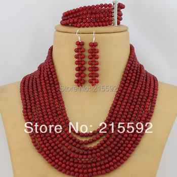 Free shipping! 9 Rows Costume Coral Beads Jewelry Set Red Nigerian African Wedding Beads Jewelry Set Wholesale CJ351